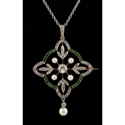 188 - An attractive Belle Epoque emerald diamond & pearl openwork brooch or pendant on chain necklace, the...