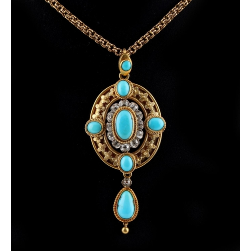 189 - An unmarked Victorian yellow gold turquoise & diamond pendant on chain necklace, the estimated total...