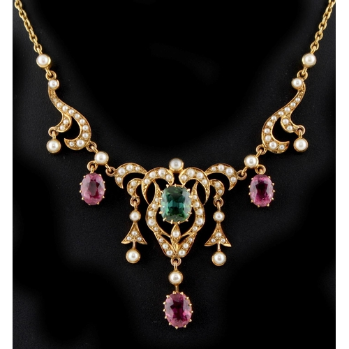 197 - A Victorian 15ct yellow gold pink tourmaline green tourmaline & seed pearl necklace, 14.6ins. (37cms...