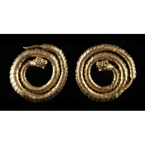 205 - A rare pair of 19th century Chinese yellow gold (tests 20ct) snake bracelets, approximately 161.7 gr...