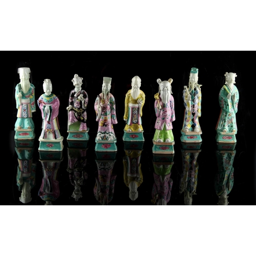 212 - Property of a gentleman - a set of eight Chinese famille rose figures of the Eight Immortals, late 1...