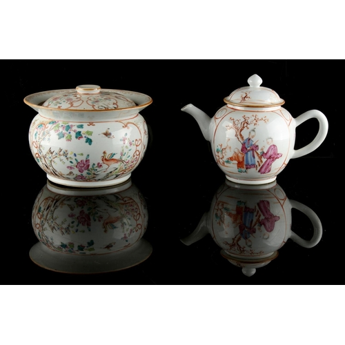213 - Property of a lady - a Chinese famille rose teapot, Qianlong period (1736-1795), painted with two pa...