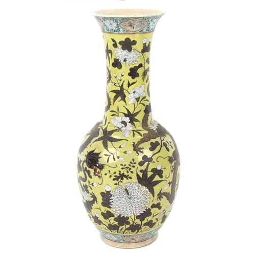 217 - Property of a lady - a late 19th / early 20th century Chinese crackle glazed bottle vase with flared...