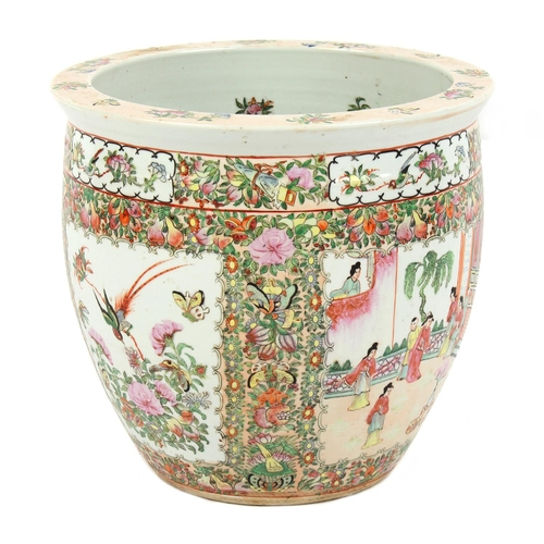 218 - Property of a lady - a Chinese Canton famille rose fish bowl planter, late 20th century, 14.5ins. (3...