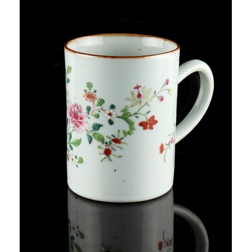 221 - Property of a deceased estate - an 18th century Chinese famille rose mug or tankard, painted with fl...