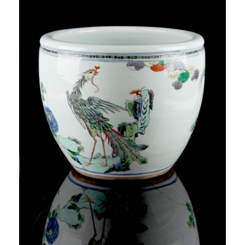 224 - Property of a lady - a 19th century Chinese famille verte dragon & phoenix planter, restored, 10ins....