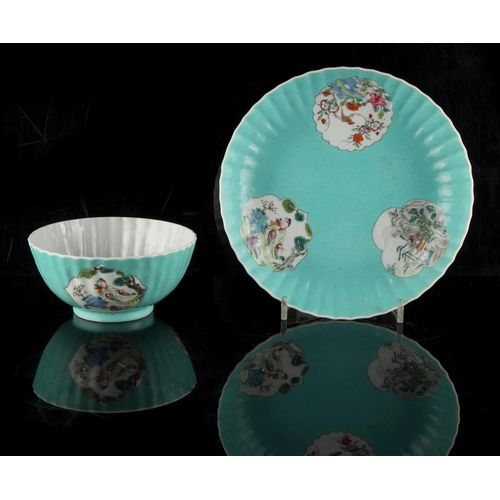 225 - Property of a lady - a Chinese famille rose shallow dish and matching bowl, 18th century, of fluted ...