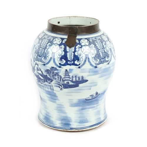 226 - Property of a lady - a large Chinese blue & white porcelain baluster temple jar, 17th / 18th century...