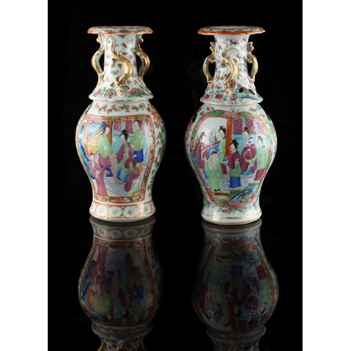 229 - Property of a lady - a pair of 19th century Chinese Canton famille rose baluster vases, painted with...
