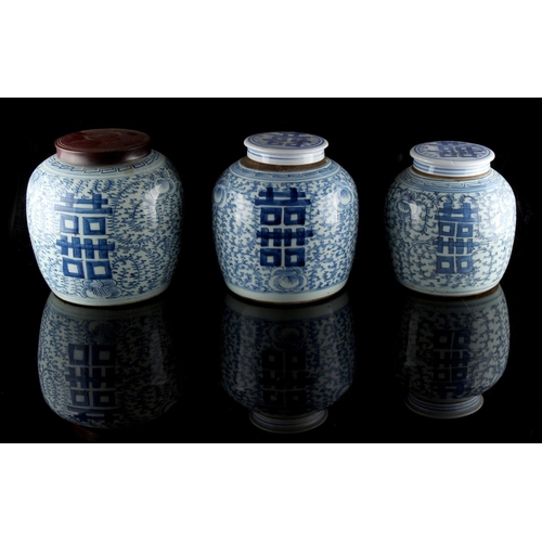 231 - Property of a gentleman - a graduated set of three 19th century Chinese provincial blue & white ging...