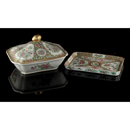233 - Property of a deceased estate - a 19th century Chinese Canton famille rose tureen, 9.65ins. (24.5cms...