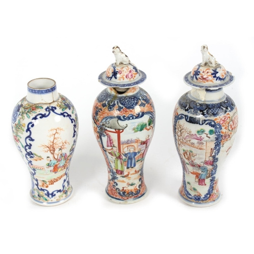 254 - Property of a lady - three 18th century Chinese famille rose baluster vases, extensively damaged, on...