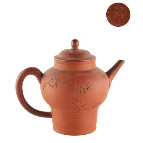 261 - Property of a lady - a Chinese Yixing teapot & cover, the cover restored, 2-character mark to base, ...