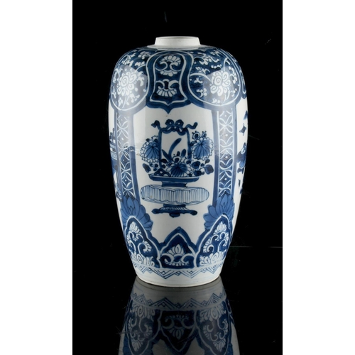 267 - A Chinese blue & white ovoid vase, Kangxi period (1662-1722), cover missing, 9ins. (23cms.) high (se...