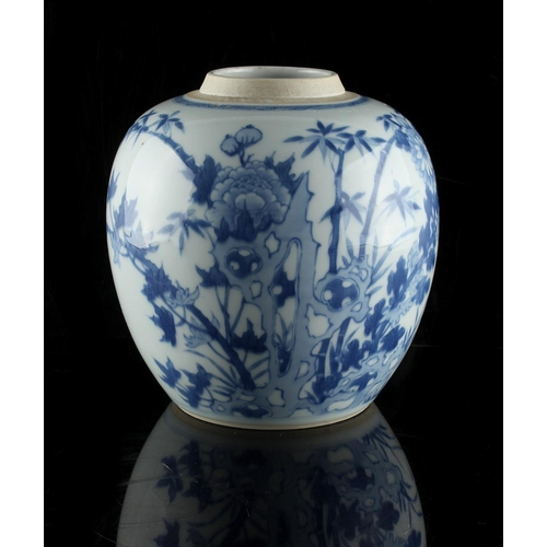 268 - A Chinese blue & white ovoid ginger jar, 18th century, painted in pale blue with a continuous scene ...