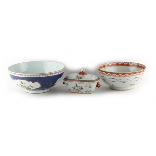 272 - Property of a lady - two 18th century Chinese punch bowls; together with a small 18th century Chines...