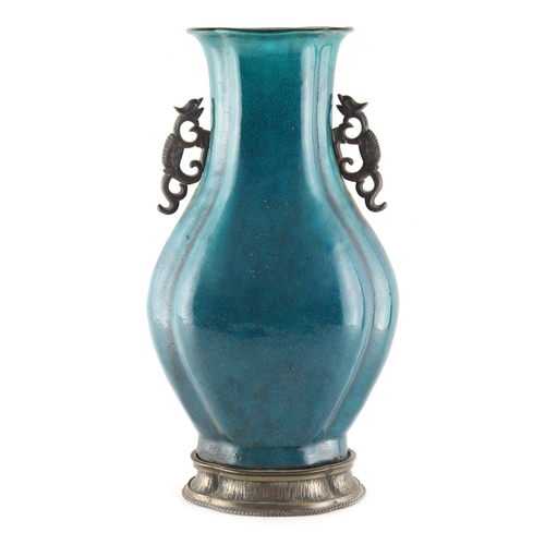 275 - Property of a lady - a Chinese turquoise glazed baluster vase, 18th / 19th century. of slightly flat...