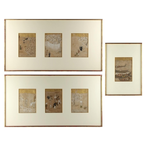 28 - Property of a gentleman - a set of seven 19th century Japanese paintings on paper depicting figures ...