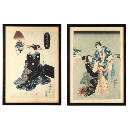32 - Property of a lady - Utagawa Toyokuni I (1769-1825) - Man and Woman Kabuki actors - woodblock print,...