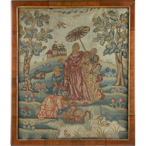 39 - Property of a lady - a 19th century petit point woolwork picture depicting Moses in the basket, 20.5...