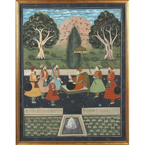 42 - Property of a lady - a large Indian gouache painting depicting figures on a terrace, in gilt frame, ...