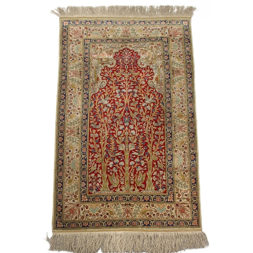 53 - Property of a gentleman - a Persian part silk 'Tree of Life' prayer rug, 56 by 36ins. (142 by 91cms....