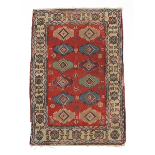 54 - Property of a lady - a small antique Caucasian Shirvan rug, 43 by 29ins. (110 by 74cms.) (see illust...