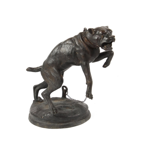63 - Property of a gentleman - a bronze model of a chained pit bull terrier, signed 'VALTON' to base, 24i...
