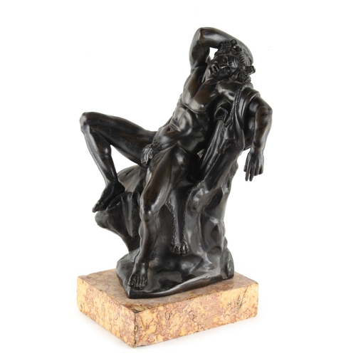 66 - Property of a deceased estate - a 19th century bronze model of Pan, modelled seated, on marble base,...