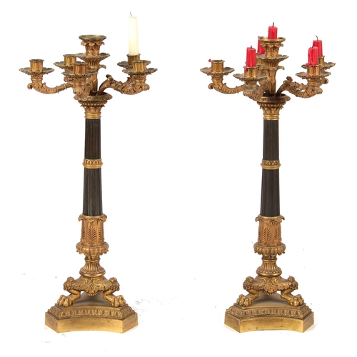 67 - Property of a deceased estate - a large pair of 19th century French Restauration bronze & gilt bronz...