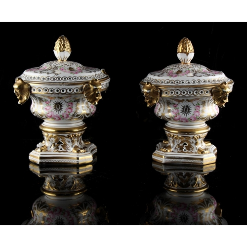 70 - Property of a gentleman - a pair of Continental porcelain pot pourri vases & covers, in the Derby st...