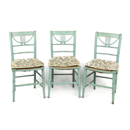 74 - Property of a lady - a set of three 19th century pale blue painted rush seated side chairs (3) (see ...