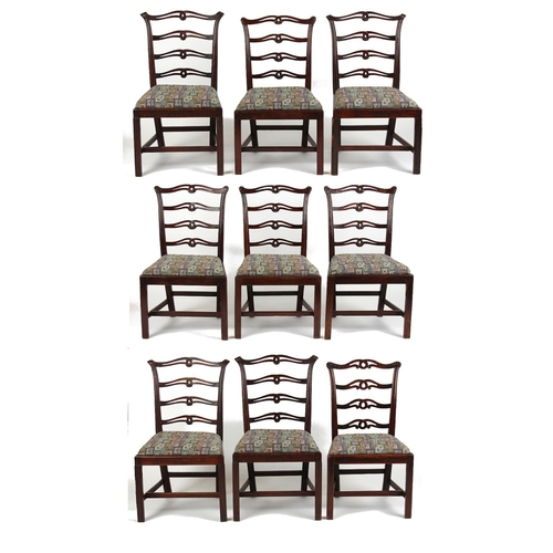 76 - Property of a gentleman - a matched set of nine (4,4,1) George III mahogany dining chairs in the man...