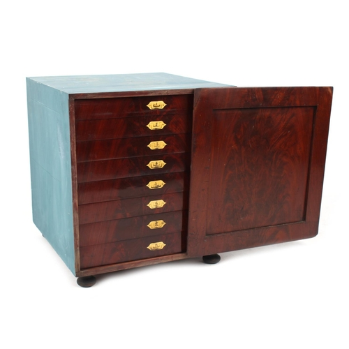 77 - Property of a gentleman - a 19th century mahogany collector's cabinet, the eight drawers with flush ...