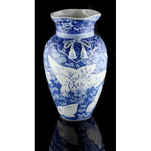 8 - Property of a lady - a late 19th / early 20th century Japanese blue & white Seto ware vase, with mou...