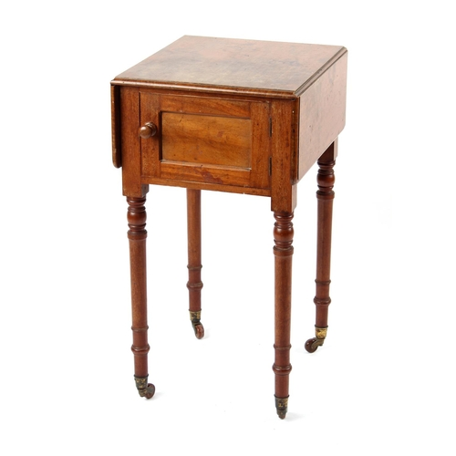 81 - Property of a lady - an early Victorian mahogany drop-leaf pot cupboard, with turned legs & brass ca...