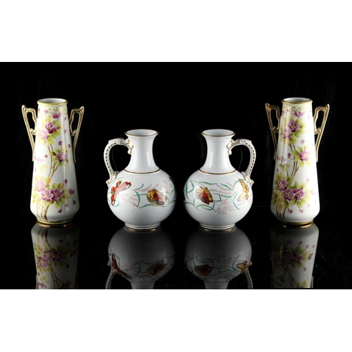 96 - Property of a lady - a pair of Victorian pottery vases painted with butterflies, each 7.9ins. (20cms...