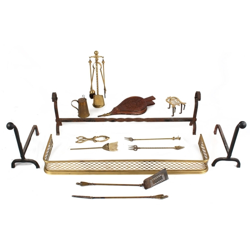 98 - Property of a gentleman - a quantity of fire furniture including a pierced brass fender & bellows (a...