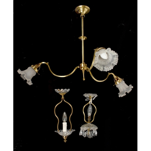 99 - Property of a lady - a brass triple ceiling light with frosted glass shades, approximately 24ins. (6...