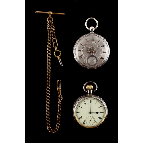1 - Property of a lady - a Victorian silver cased pocket watch with silvered dial & chain fusee movement...