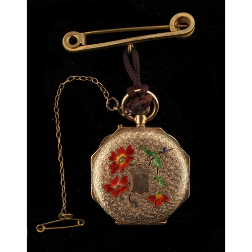 13 - Property of a deceased estate - a 9ct gold cased fob watch with enamel floral decoration, suspended ...