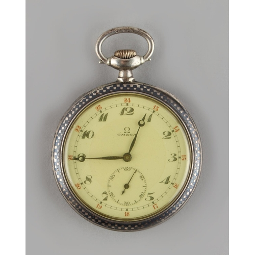 15 - Property of a deceased estate - an Omega silver & niello cased keyless wind pocket watch, with subsi...