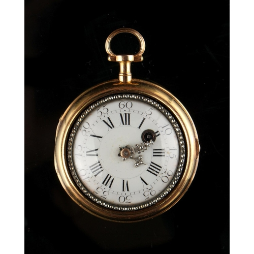 17 - Property of a deceased estate - a late 18th century French gold pair cased pocket watch, the two col...