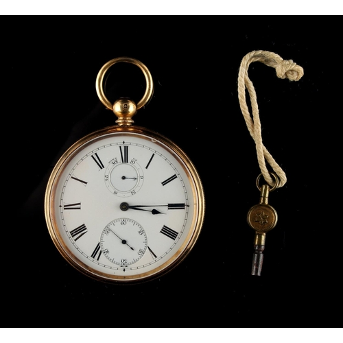 18 - Property of a deceased estate - a good Victorian 18ct gold cased key wind pocket watch, with power r...
