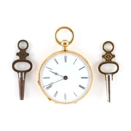 2 - Property of a lady - a late 19th / early 20th century 18ct gold cased key wind fob watch, French pro...