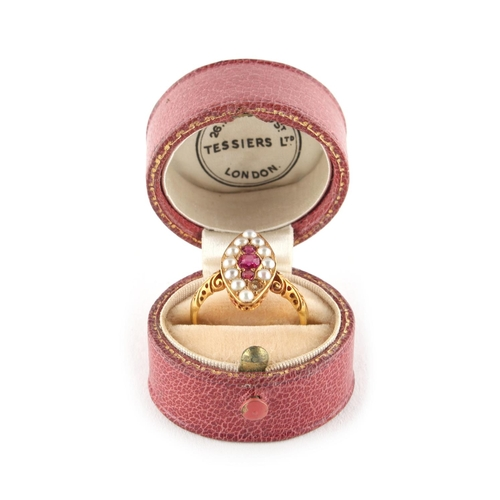 38 - Property of a deceased estate - a Victorian 18ct yellow gold ruby & pearl ring, with navette shaped ...