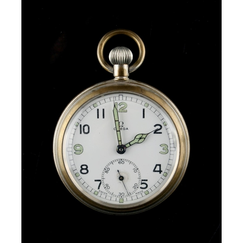 11 - Property of a gentleman - an Omega military pocket watch, with broad arrow mark above G.S.T.P. and s...