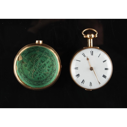 18A - Property of a gentleman - a George III 18ct gold pair cased pocket watch, the fusee movement engrave...