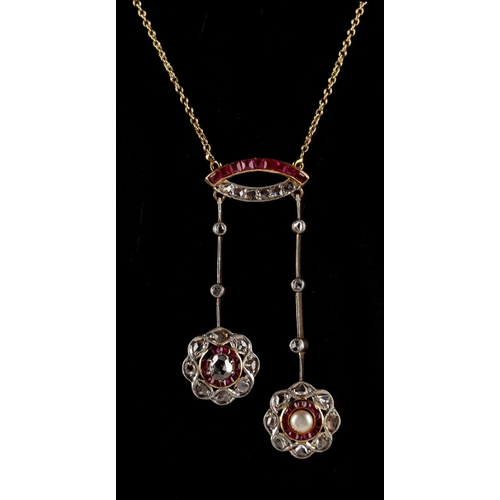 22 - An attractive yellow gold ruby diamond & pearl negligee necklace, 17.75ins. (45cms.) long....