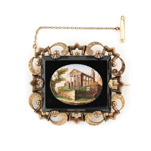 24 - Property of a lady - a Victorian unmarked yellow gold & micromosaic brooch, the rectangular panel de...